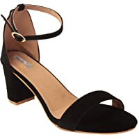 Feel It Leatherite Black Color Block Heel Sandals For Women's & Girl's