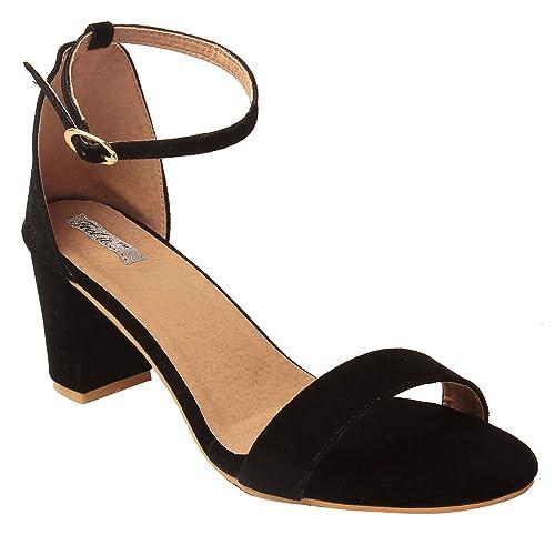 c5ce1465a46 Feel it Leatherite Black Color Block Heel Sandals for Women s (2305-Black-36