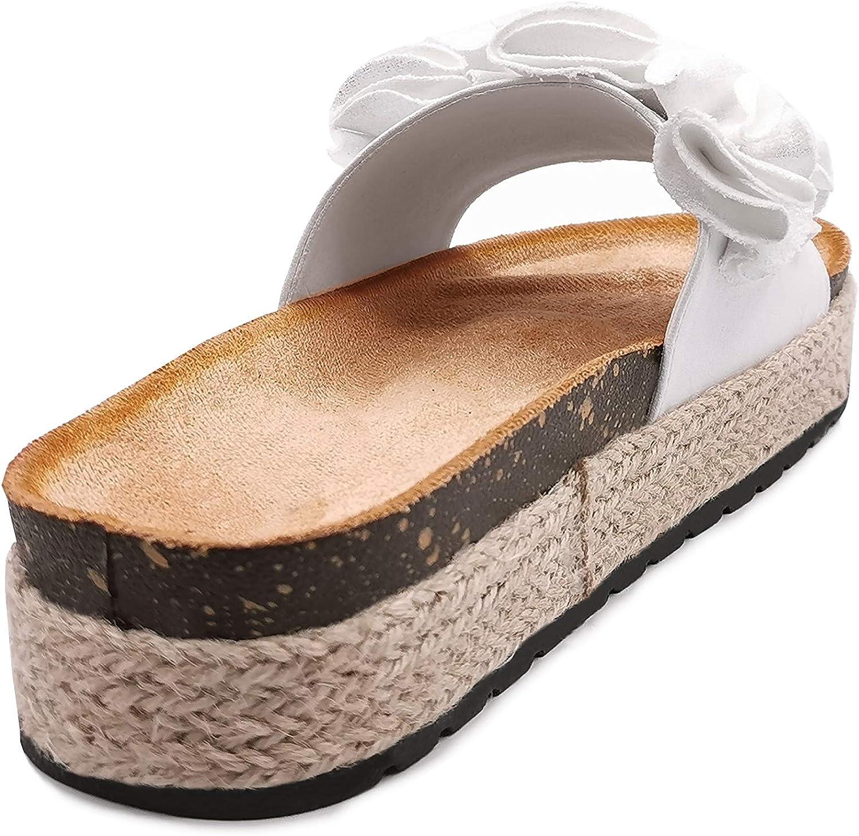Chaussure Mode Mule Nu-Pieds de Plage Boh/ème Casual Femme Corde Tress/é li/ège Talon Plat 4 CM Angkorly