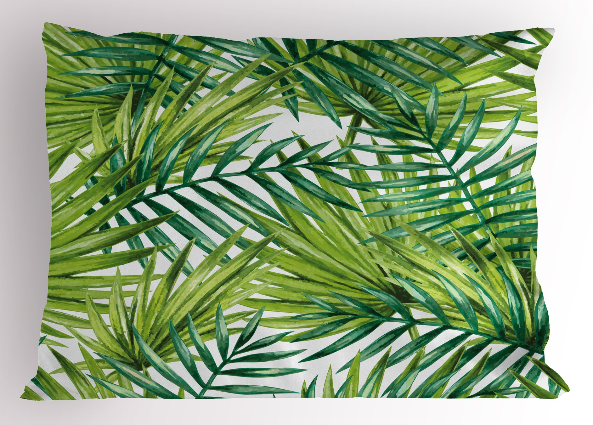 Ambesonne Plant Pillow Sham, Watercolor Tropical Palm Leaves Colorful Illustration Natural Feelings, Decorative Standard Queen Size Printed Pillowcase, 30 X 20 inches, Fern Green Lime Green
