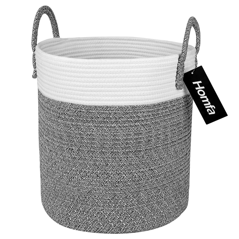Homfa Cesto para Colada 100L Cesto de Ropa de Almacenamiento de Cuerda de Algodón Natural para Salón Dormitorio Baño 33 x 38 x 33cm: Amazon.es: Hogar