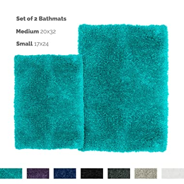 Nestl Bedding Set of 2 Shaggy Rug with Non-Slip Rubber Backing – Machine Washable Super Soft Microfiber Rug – Plush Absorbent Bath Rug - Small and Medium - Teal Blue