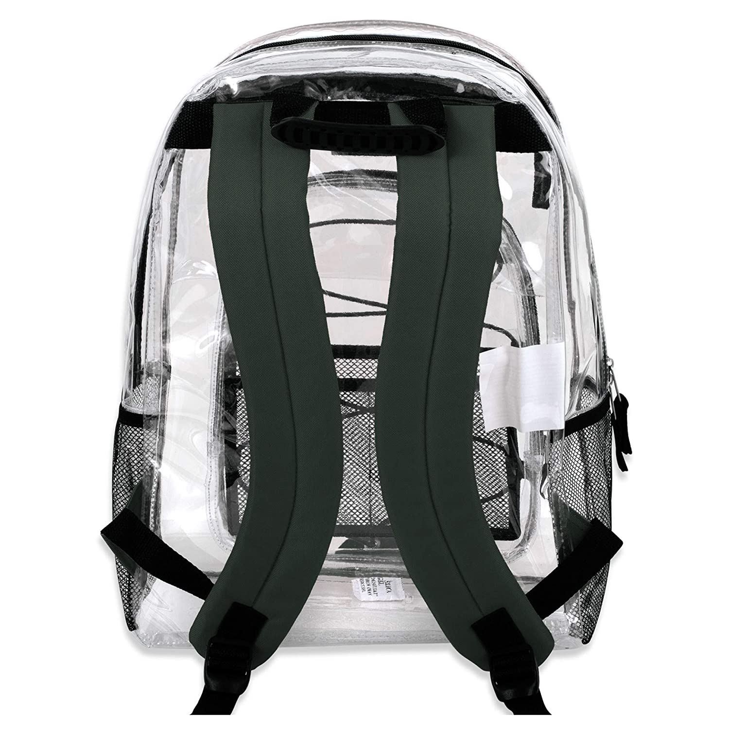Sporty Design /& Reinforced Straps Clear See Through Backpack Grey Transparent School Bag