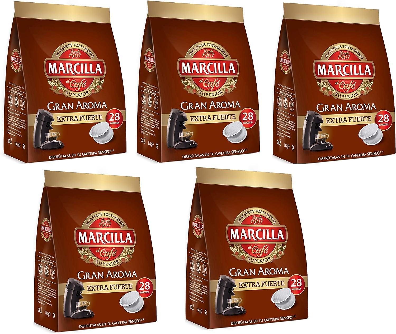 Marcilla Café Extra Fuerte para máquina Senseo - 5 paquetes de 28 ...