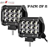 AllExtreme EX12FW2 12 LED Fog Light Bar Spot Beam Off Road Driving Lamp for Cruiser Bikes, Truck, Car, ATV, SUV, Jeep and Cars (36W, White Light, 2 PCS)