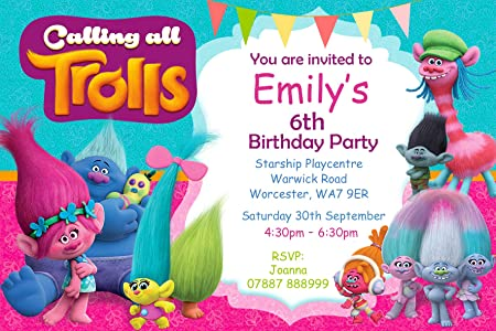 Trolls Birthday Invitations Envelopes