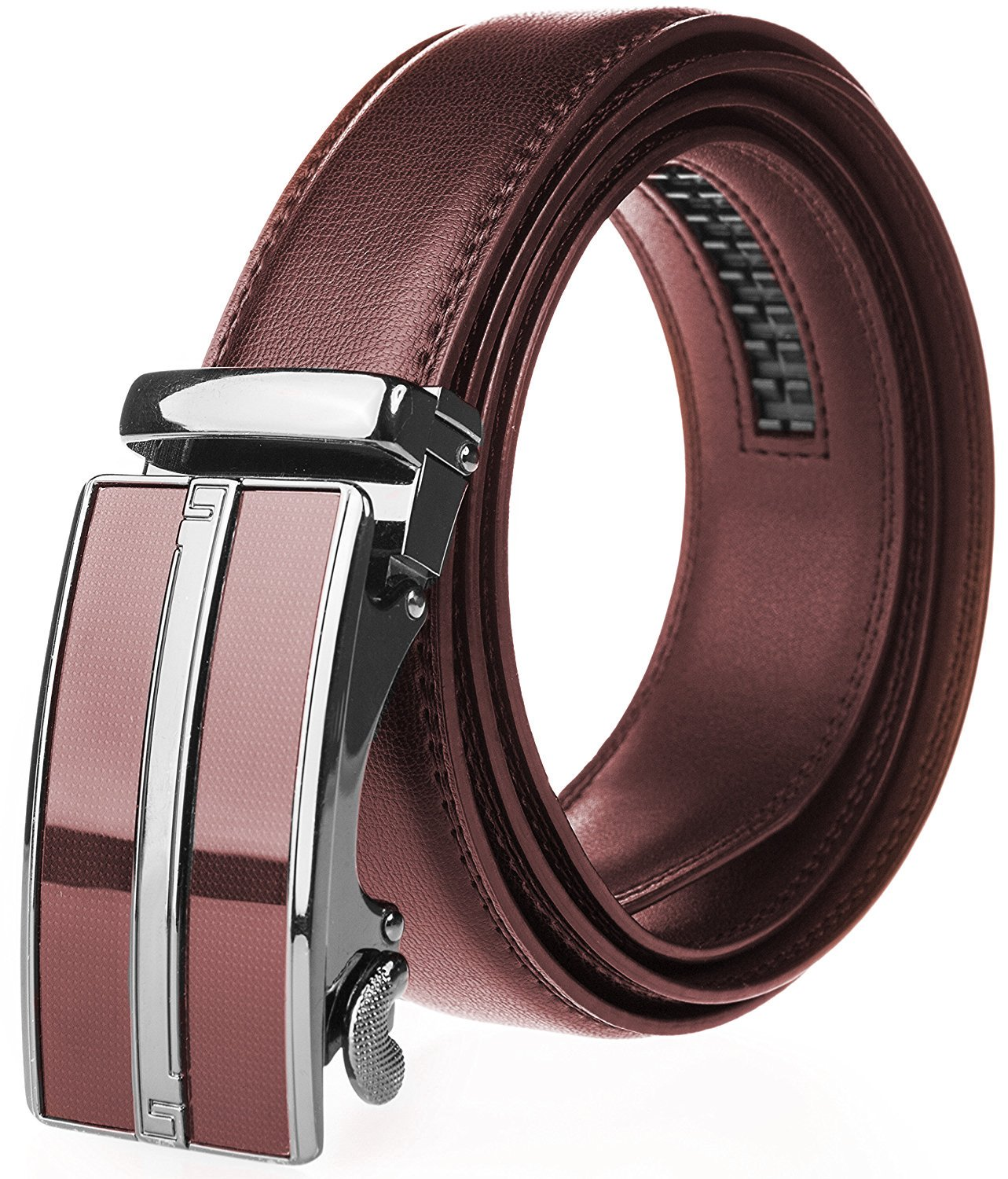 M. Bettino Mens Leather Ratchet Dress Belt With Linxx Buckle, Waist Size Up to 46'' with Automatic Buckle