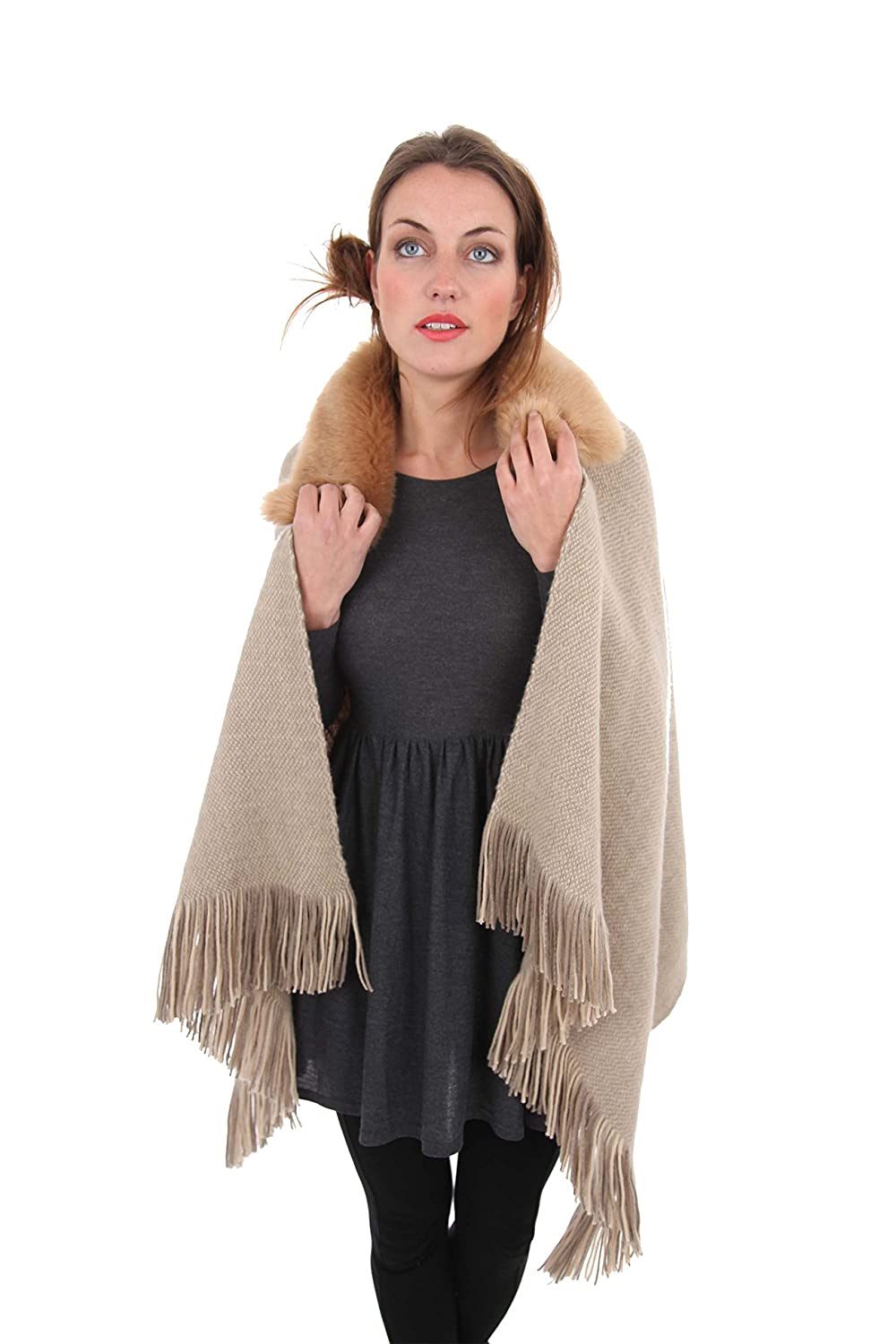 i-Smalls Women's Rochelle Knit Blanket Cape with Detachable Faux-Fur Trim