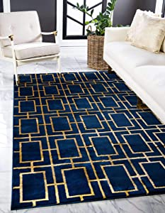 Unique Loom Marilyn Monroe Glam Collection Textured Geometric Trellis Area Rug, 5 x 8 Feet, Navy Blue/Gold
