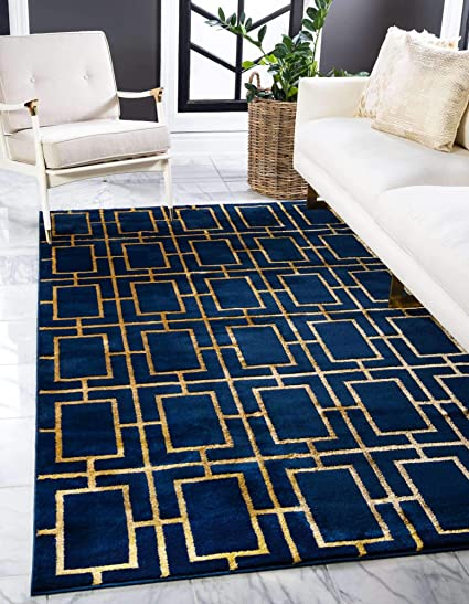 Unique Loom Marilyn Monroe Glam Collection Textured Geometric Trellis Navy Blue Gold Area Rug 2 0 X 3 0 Amazon Co Uk Kitchen Home