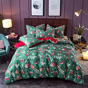 "Meeting Story Boxes Honey Stocking Print Quilt Cover,Christmas Tree for Boys Girls Bedding Duvet Cover Sets (Christmas-Green, King (Duvet Cover 102""x90""))"