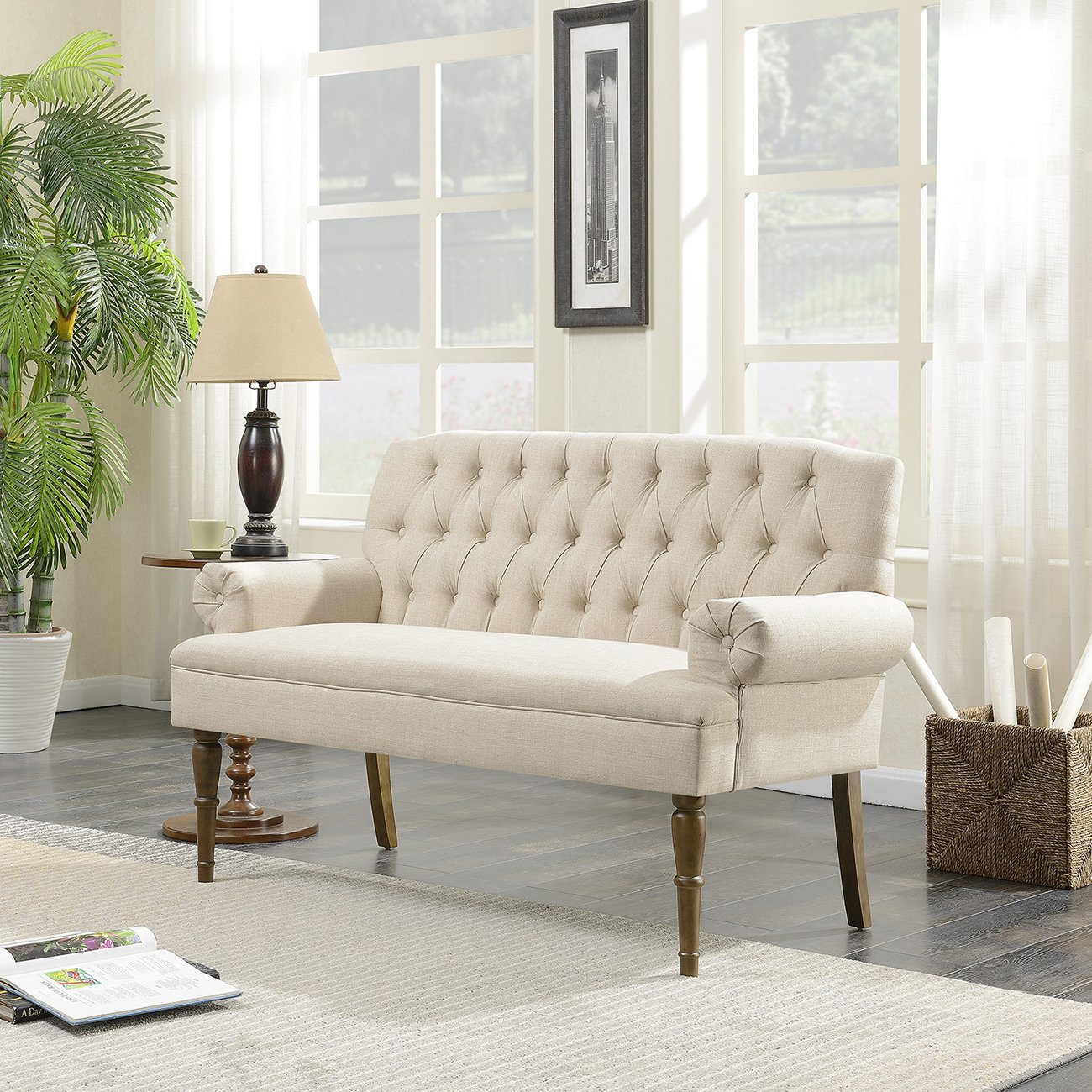 Belleze Button Tufted Mid-Century Settee Upholstered Vintage Sofa Bench with Linen Fabric Wood Legs, White by Belleze