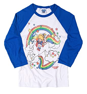 905ff9a0aff3 Image Unavailable. Image not available for. Color: Rainbow Brite Clouds  White and Blue Raglan Baseball T Shirt - 80s Cartoon Tees