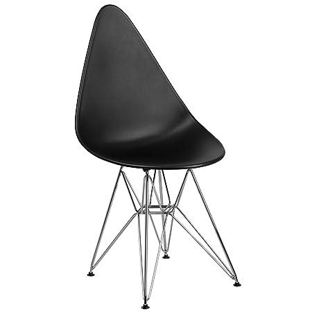 Flash Furniture Allegra Series Teardrop Black Plastic Chair with Chrome Base