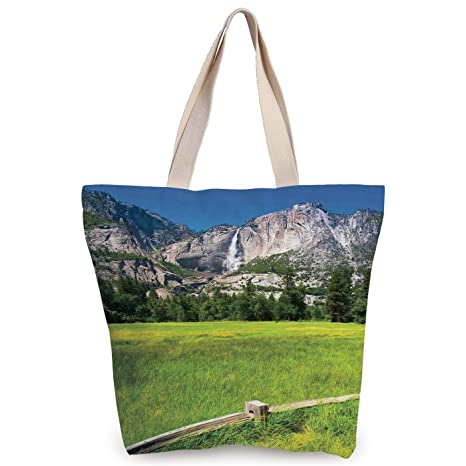 2759075bdb47 Amazon.com: iPrint Unique Durable Canvas Tote Bag,Yosemite,The Falls ...