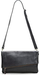 product image for Black Foldover Clutch/Crossbody Italian Leather Bag
