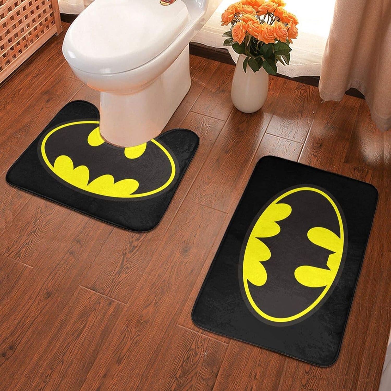 Batman Bathroom Antiskid Pad Non-Slip Bath Carpet Floor Mat Rug 2 Sets -Floor Mat+U-Shaped Pad, Toilet Washable Blanket Mats for Bathroom.