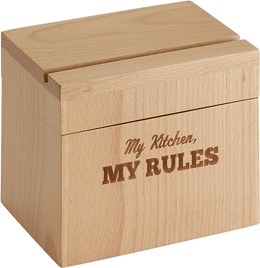 Cake Boss - Caja de recetas de madera de haya con texto en inglés