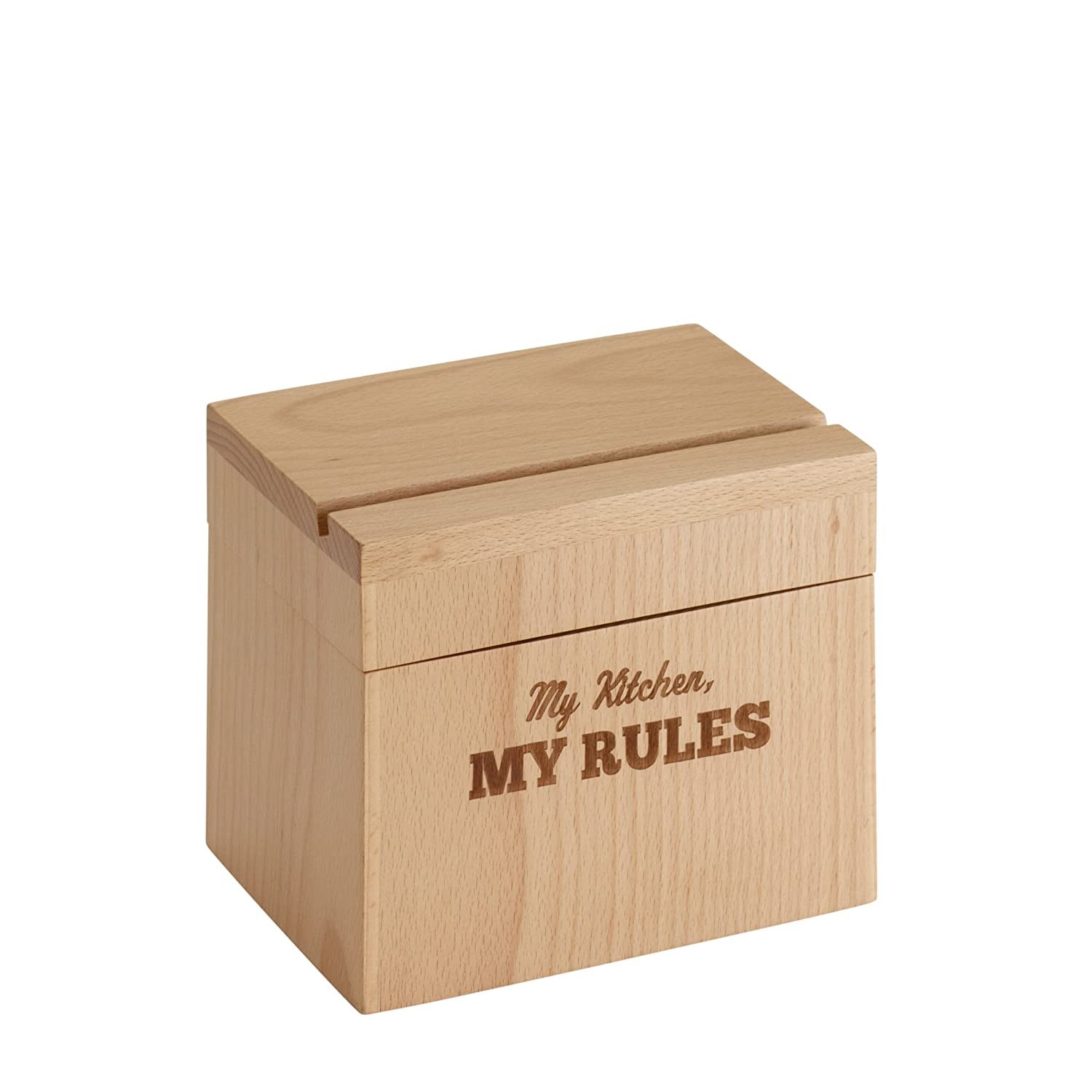 Cake Boss Countertop Accessories Beechwood Recipe Box with My Kitchen, My Rules Message Meyer 59564