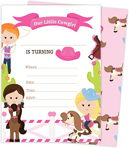 Amazon.com: Cowgirl Cowgirl – Tarjetas de invitación para ...