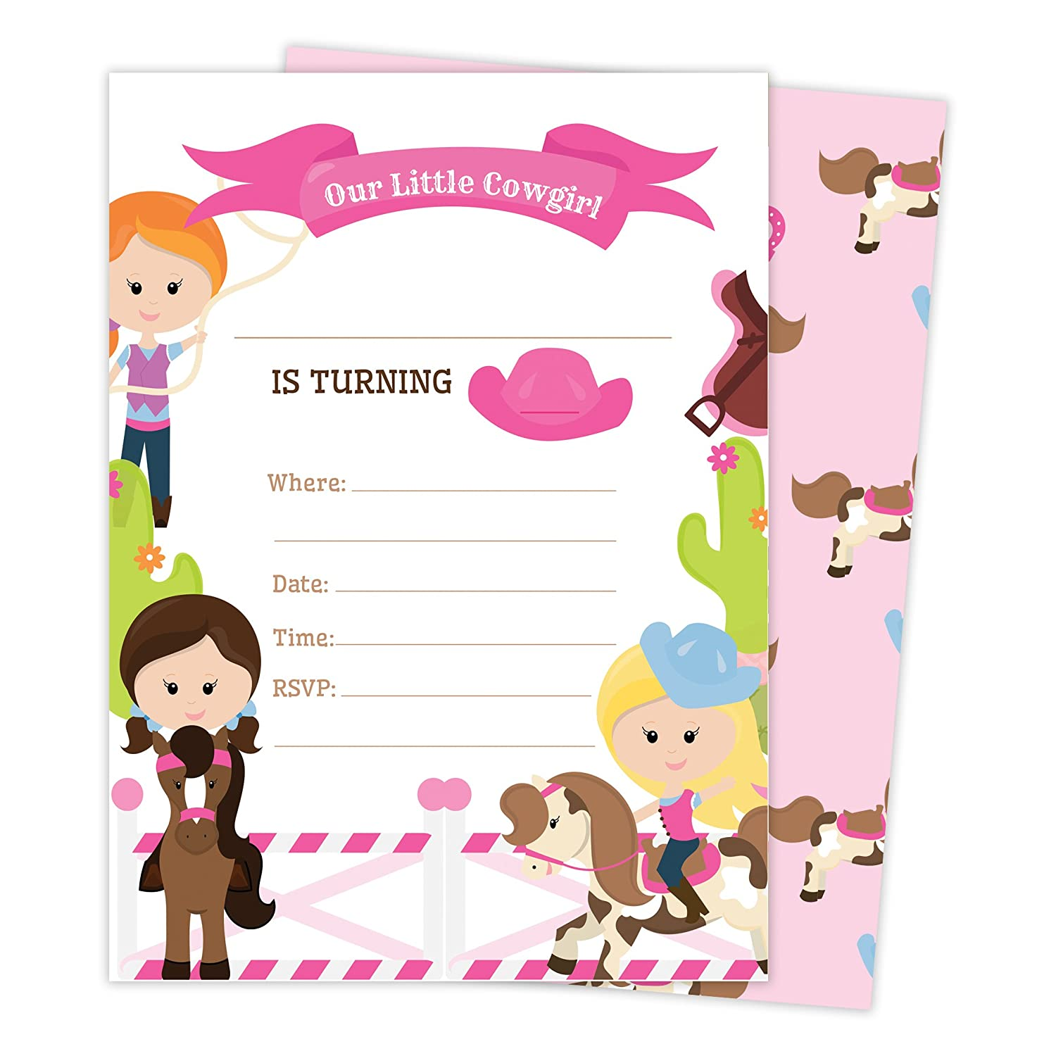 Cowgirl Cow Girl Style 3 Happy Birthday Invitations Invite Cards 25 Count With Envelopes Seal Stickers Boys Girls Kids Party