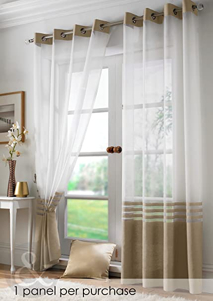 Just Contempo Modern Voile Curtains Ring Top Ready Made Eyelet Voile