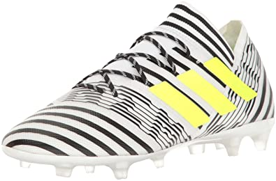 ecc9237418be adidas Men s Nemeziz 17.2 Firm Ground Cleats Soccer Shoe White Solar Yellow  Black (