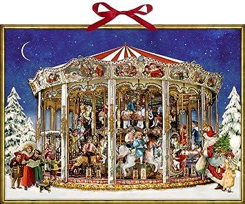 Calendrier De Lavent Allemand.Coppenrath Calendrier De L Avent Le Carousel De Noel Enorme Traditionnel Allemand 52 Cm De Large X 38 Cm