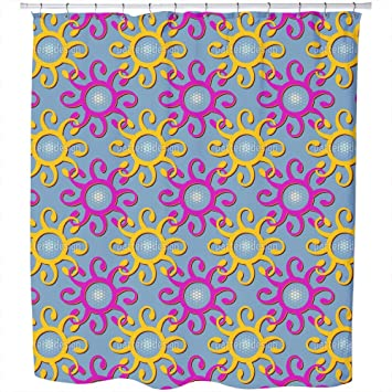 Connection Of The Sun Shower Curtain: Large Waterproof Luxurious Bathroom  Design Woven Fabric