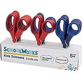 SchoolWorks 5 Inch Squishgrip Pointed-tip Kids Scissors, Classpack of 12 (105580-1003)