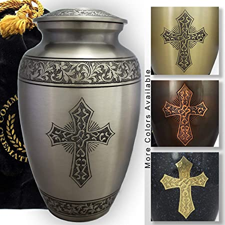 MEMORIALS 4U Mulberry with Silver Band Cremation Urn for Human Ashes – Adult Funeral Urn Handcrafted – Affordable Urn for Ashes – Large Urn Deal