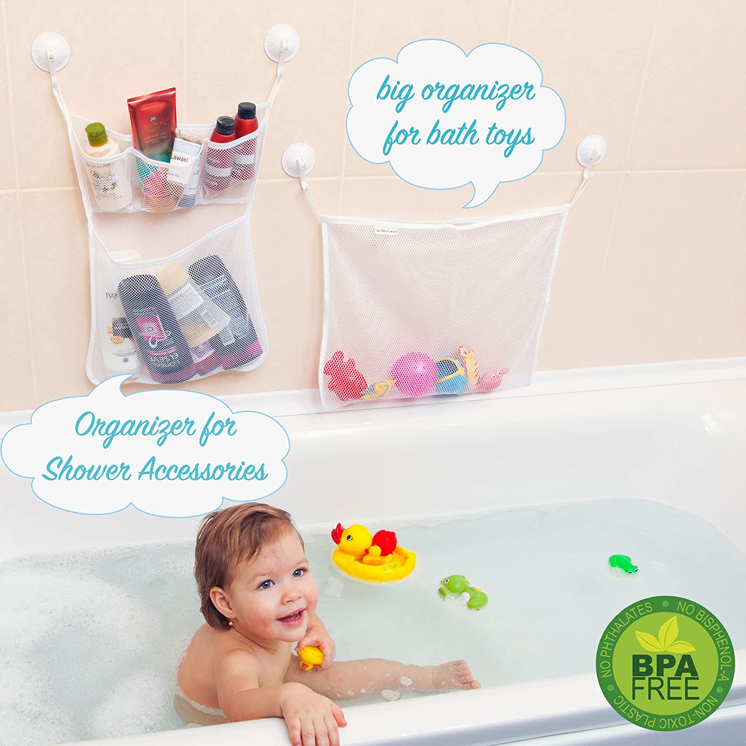 Amazon.com: 2 x Mesh Bath Toy Organizer Set + 6 Ultra Strong Suction ...