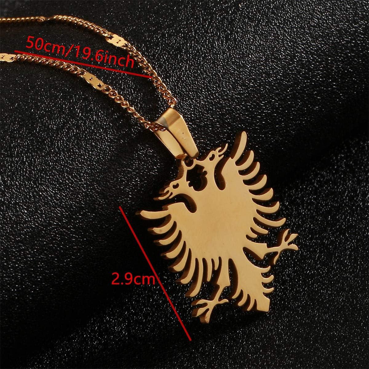 BR Gold Jewelry Collier avec Pendentif Aigle de lAlbanie en Acier Inoxydable Dor/é