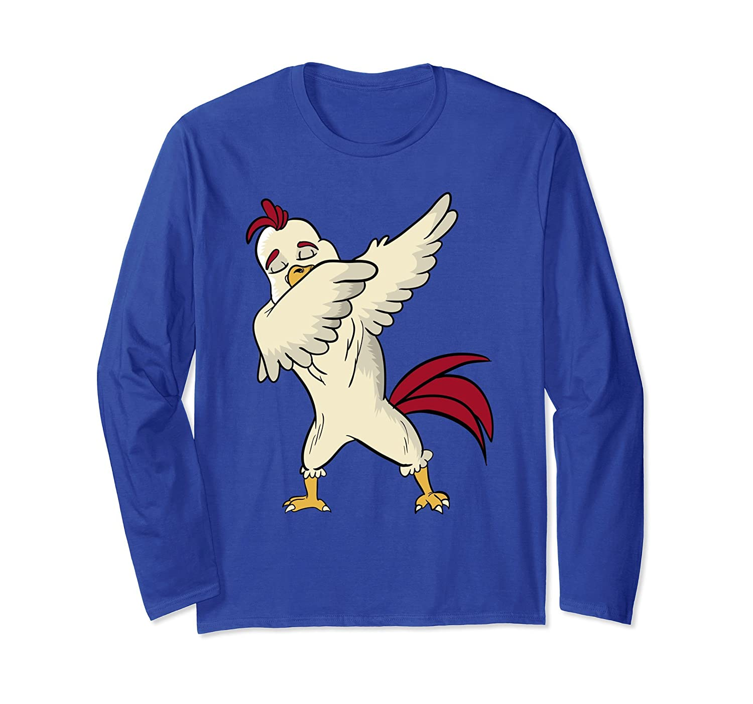Funny Dabbing Chicken Lover T-Shirt Dance Party Long Sleeve-AZP