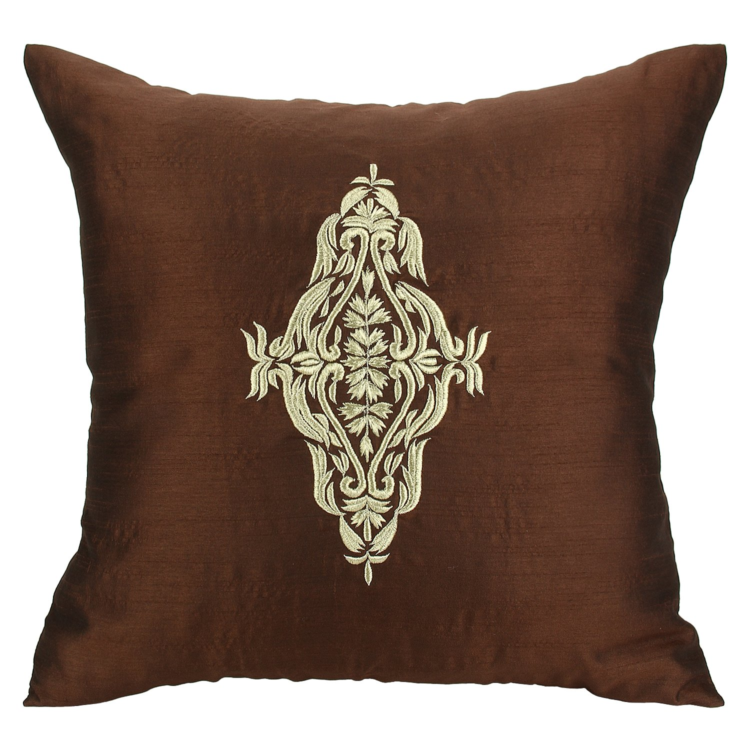 The White Petals Damask Pillow Cover - Chocolate Brown Gold Throw Pillow Cover - Embroidered Accent Pillows For Couch & Bed (Chocolate Brown, 16x16 inches)