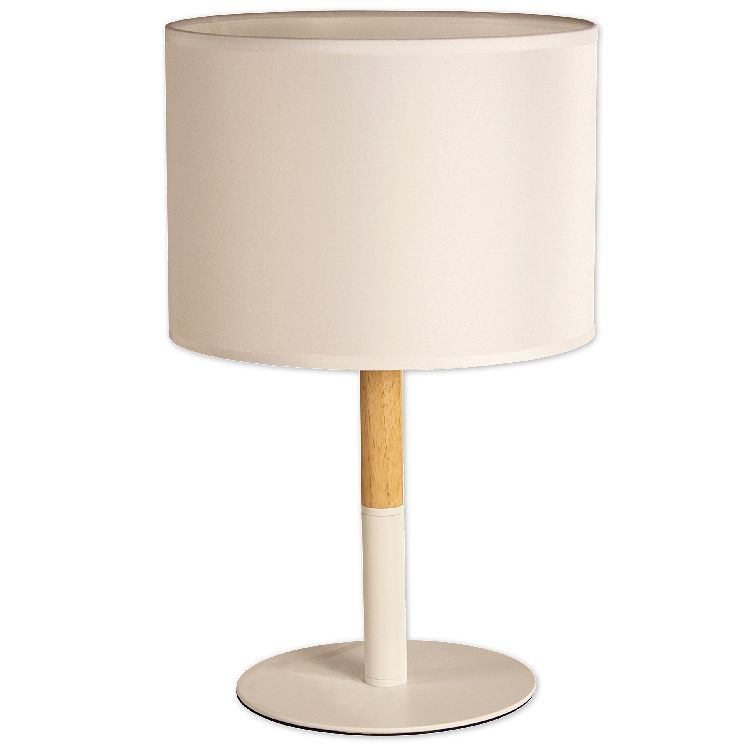 Light Accents Oslo Table Lamp Natural Wood and Metal Table Lamp 15.75'' Tall with Fabric Drum Shade (White)