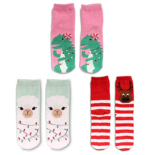 cc91057c68 Women's Christmas Super Soft Cozy Warm Fuzzy Comfy Home Indoor Outdoor Socks,  3 Pairs -
