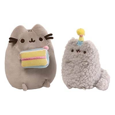 GUND Pusheen and Stormy Birthday Plush Stuffed Animals Collector, Gray, Set of 2: Gund: Toys & Games