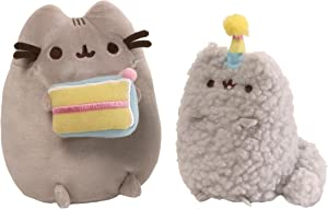 GUND Pusheen and Stormy Birthday Plush Stuffed Animals Collector, Gray, Set of 2