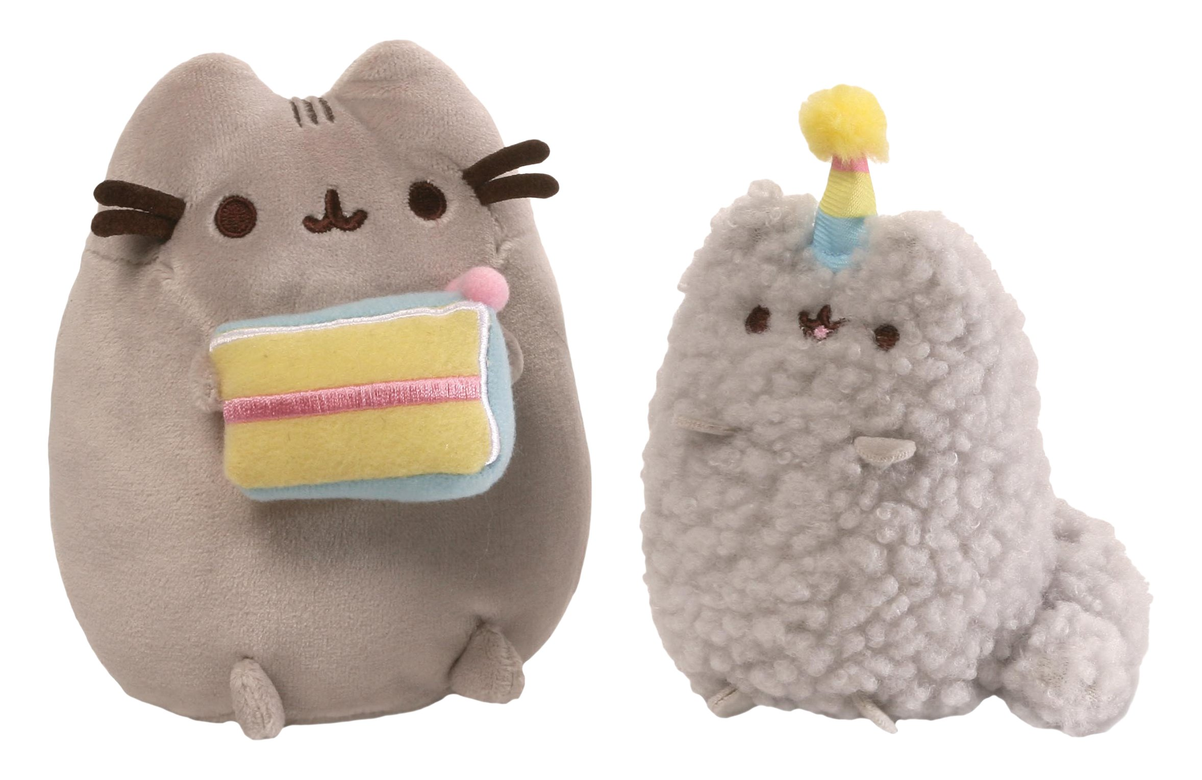 GUND Pusheen and Stormy Birthday Plush Stuffed Animals, Collector Set of 2, Gray