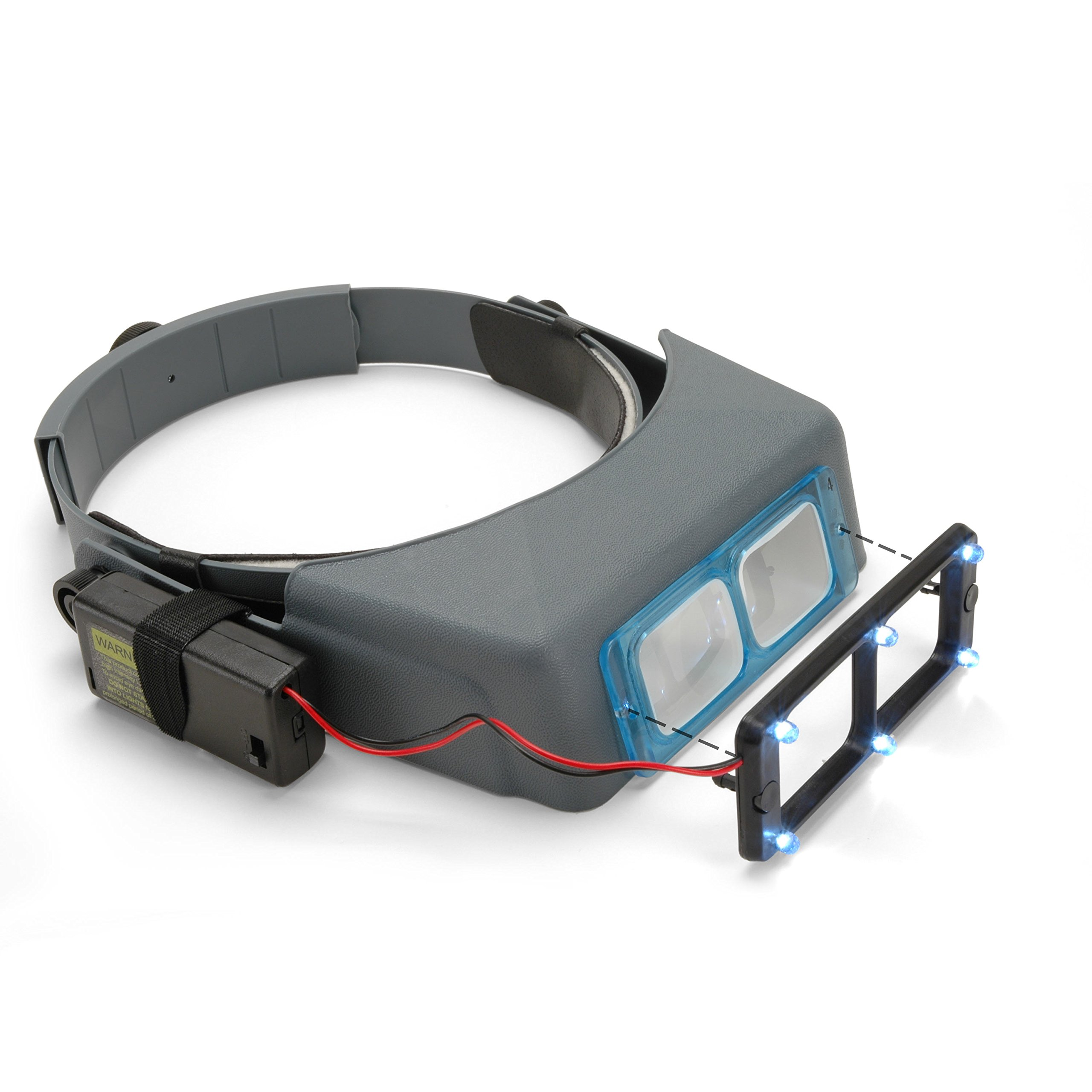 OptiVISOR Headband Magnifier, with Quasar LS Lights by StewMac