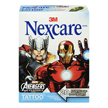 Nexcare Tattoo Waterproof Bandages The Avengers Collection