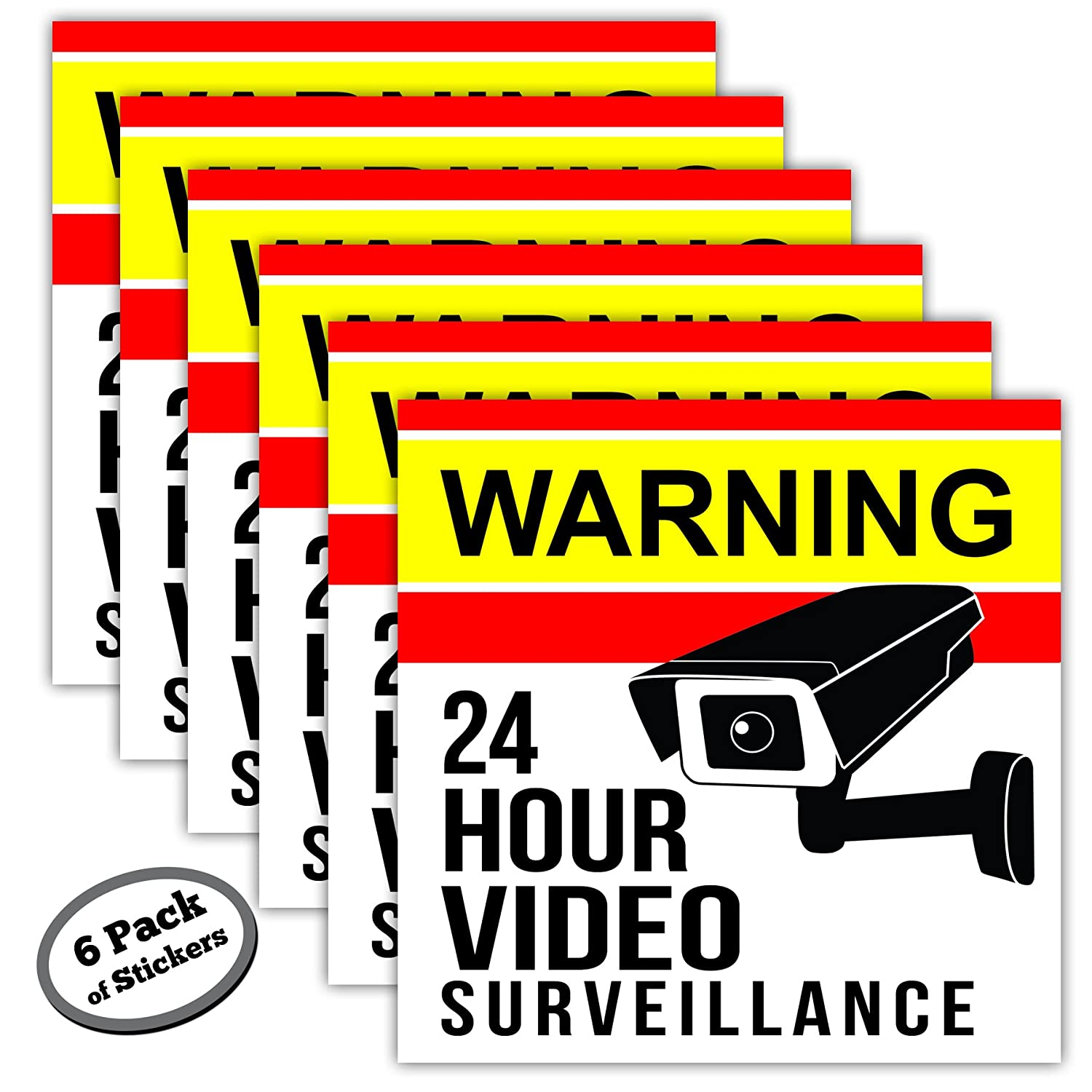 6-Pack Video Surveillance Stickers - 5 inch - Adhesive is on Front & Back. Like Signs, The Security Warning Stickers Work in Your Home Or Business Even if You Don't Have a Camera Or Alarm System. Maye Market