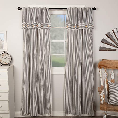Piper Classics Farmhouse Ticking Stripe Gray Panel Curtain
