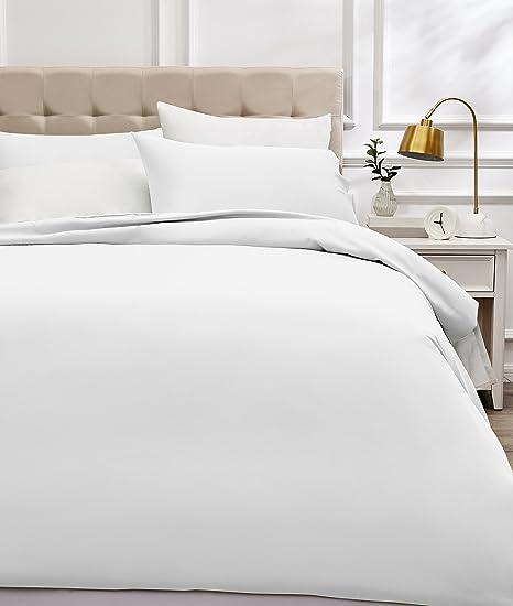 AmazonBasics - Juego de funda nórdica de satén de algodón de 400 hilos - 260 x 220 cm/ 50 x 80 cm x 2, Blanco: Amazon.es: Hogar