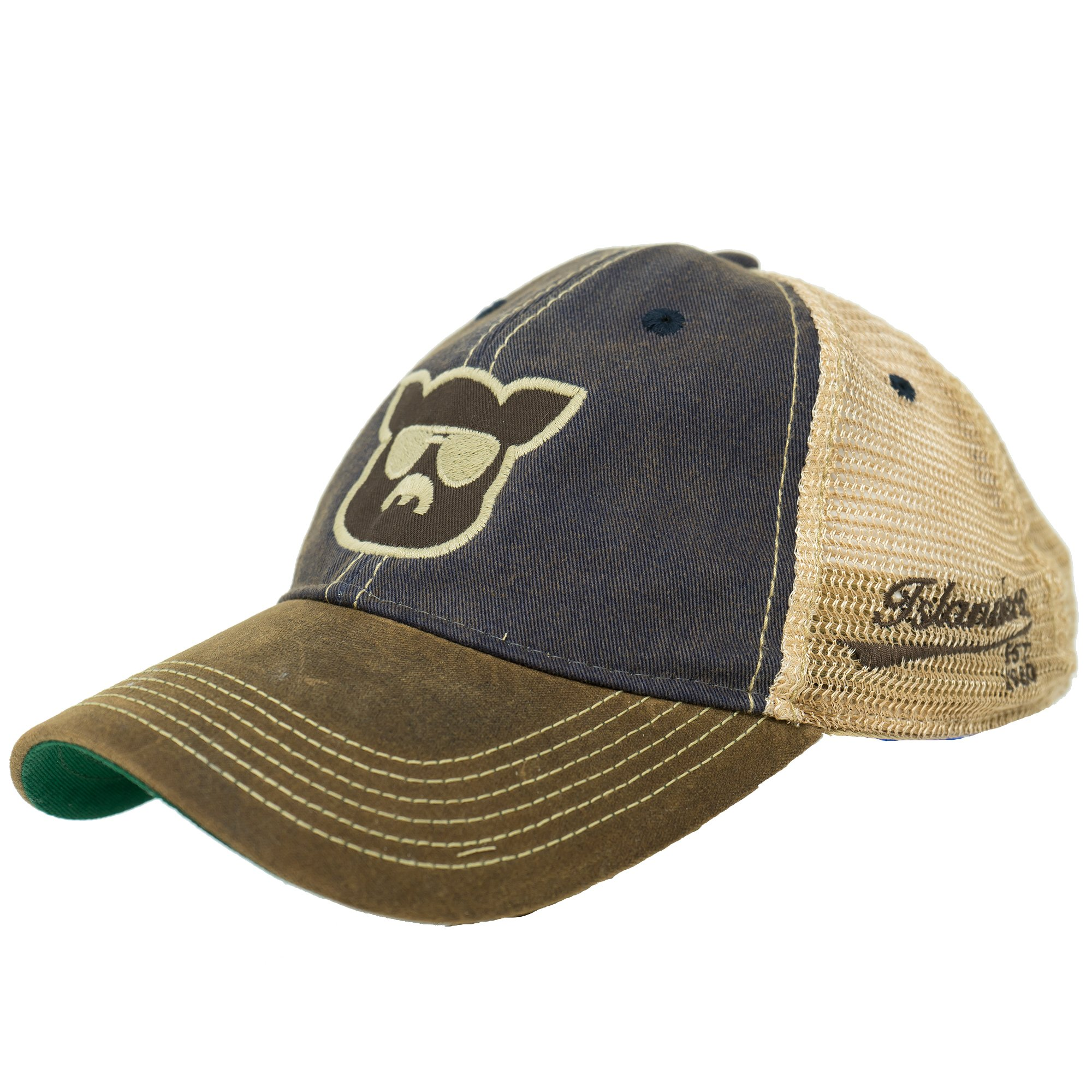 382e8a68 Galleon - Islanders Pig Face Trucker Mesh Snapback Vintage Feel Hat,  Navy/Brown Waxed, One Size