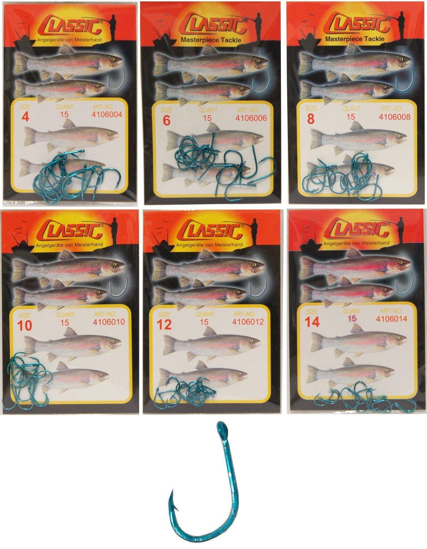 Paladin 15 Forellenhaken Öhr Forellen Haken Forellenangeln, Angelhaken Zum Angeln auf Forelle, Öhrhaken, Blau, Größen zur Auswahl: 4, 6, 8, 10, 12, 14 Öhrhaken