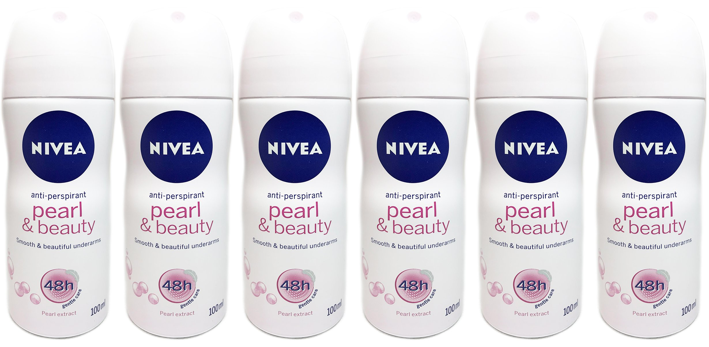 Nivea Pearl and Beauty Spray Anti- Perspirant for Women 100ml Travel Size 6 Pack