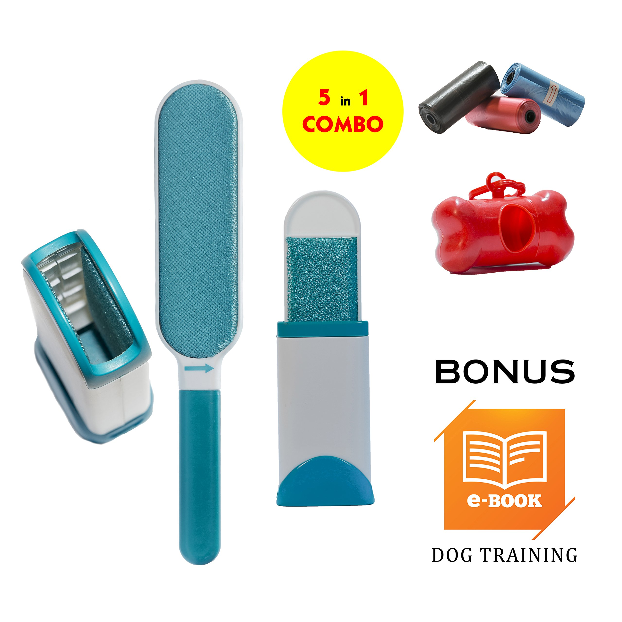TMC Fur & Lint Remover Clothes Pet Hair Furniture Cleaner Brush Reusable Include Travel Remover, Bag Dispenser, Bag on Roll