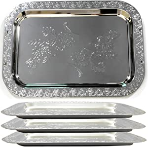 Maro Megastore (Pack of 4) 16.5-Inch x 11.8-Inch Oblong Chrome Plated Serving Tray Edge Floral Engraved Decorative Wedding Birthday Buffet Party Dessert Food Snack Wine Platter Plate 705 M Ts-178